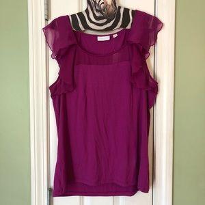 NY&CO Stretch Fuchsia Flutter Short Sleeve T-Shirt